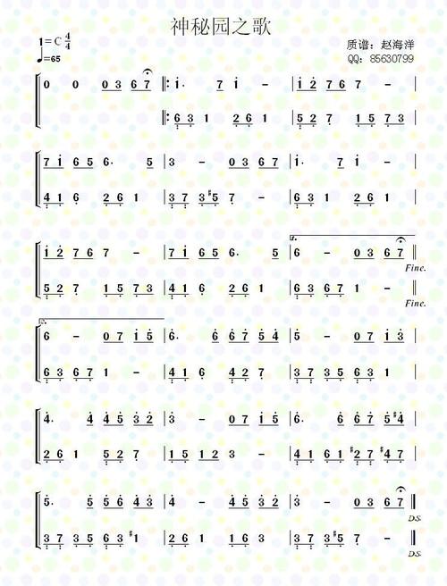神秘园(钢琴谱,吉他谱,简谱)