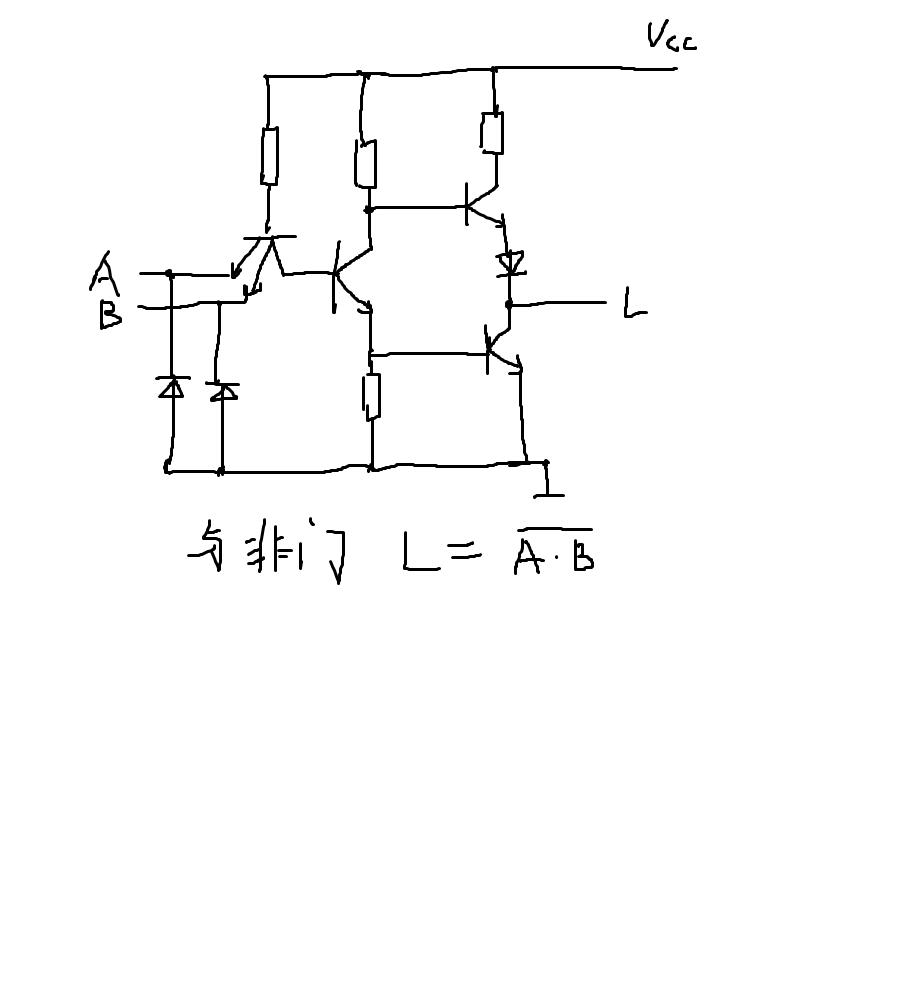 采用二极管,三极管,电阻,电容设计一个2输入的与非门电路