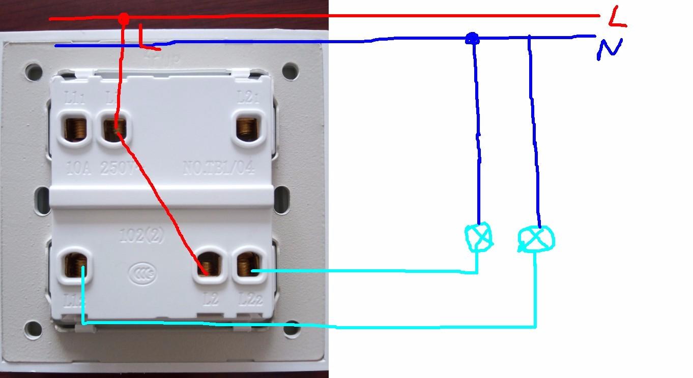 家用照明灯开关接线图,两个灯泡.