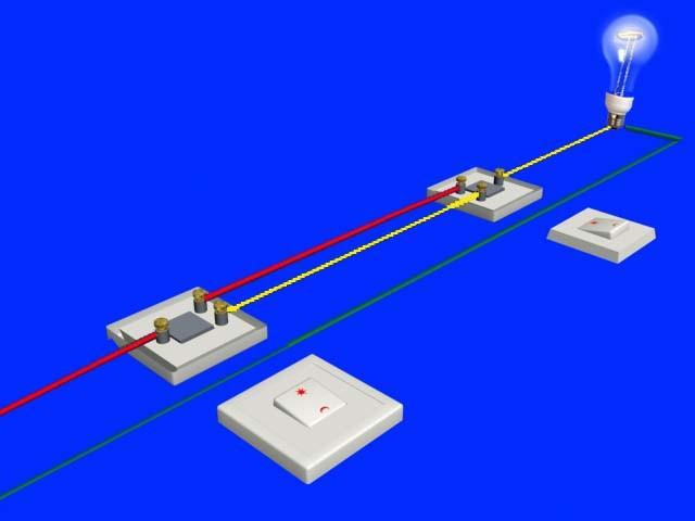 双控接线实物图两根进线一火一零,三根双控线,再就是一组灯线,求大神