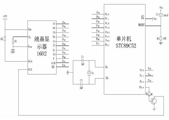 1602液晶显示模块与89c52接口