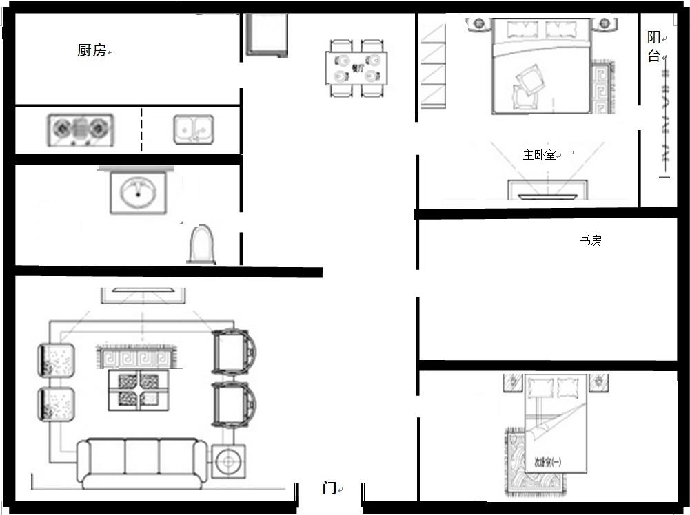 现有一套90的房子平面图,求详细的全套设计图