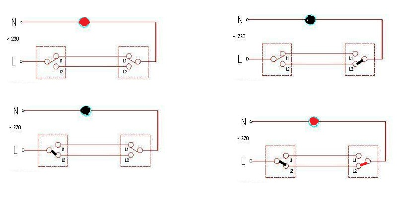 带插座的双控电路图,开关插座是怎么接的!