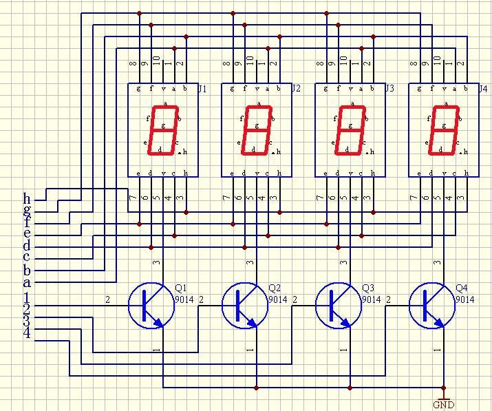 4位的共阴数码管,用三极管驱动,该怎么连接,最好能给个电路图~~谢谢啊