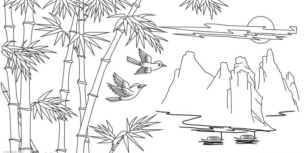 怎样用铅笔画熊猫吃的竹子,图片