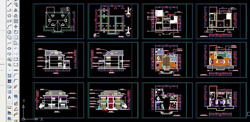 求9米*7米两层符号v符号房屋建筑设计英语图纸图片