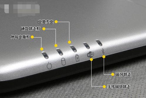 笔记本电脑电池充电的指示灯在哪儿?