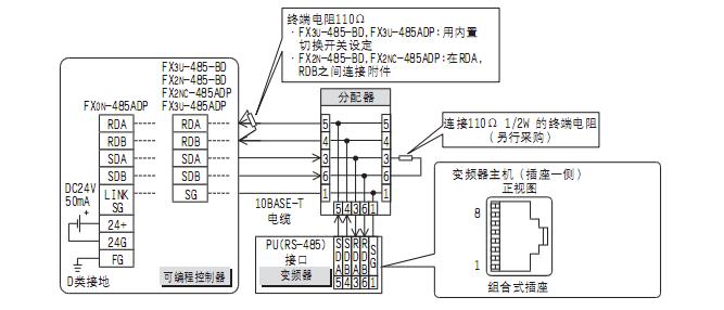 三菱3uplc与三菱e740变频器485通讯接线图