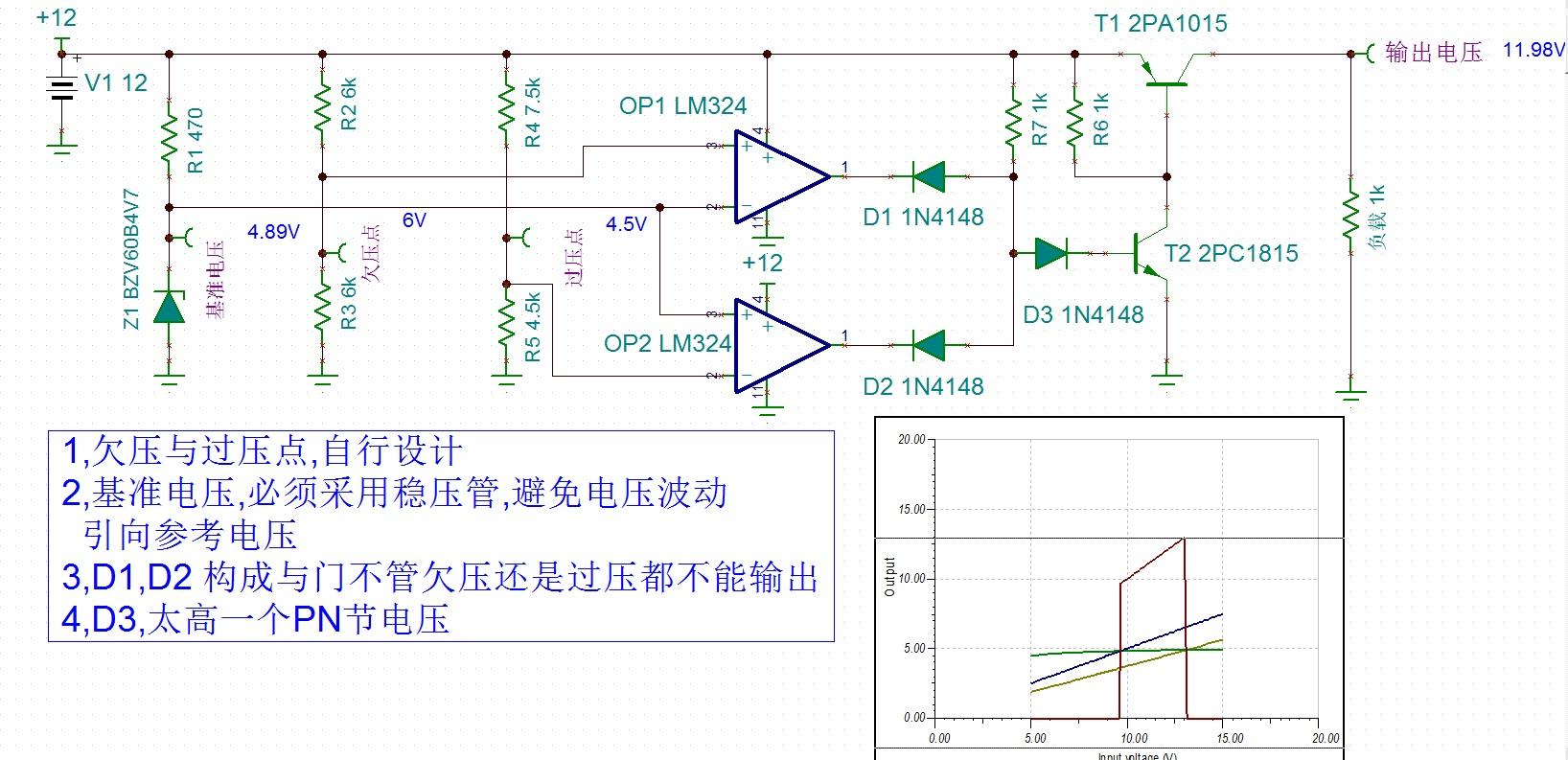 用555和集成运放构成的过压欠压保护电路