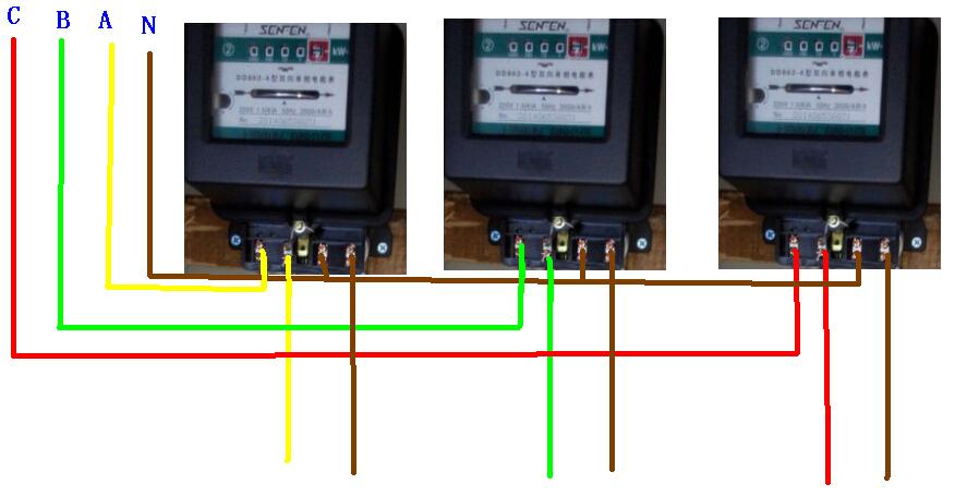 三个dd862-4单相电表.接三相四线接法.