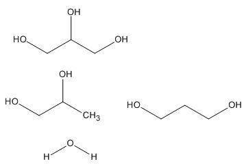 有朋友帮我写一分,丙三醇,丙二醇及水的化学分子式吗?图片