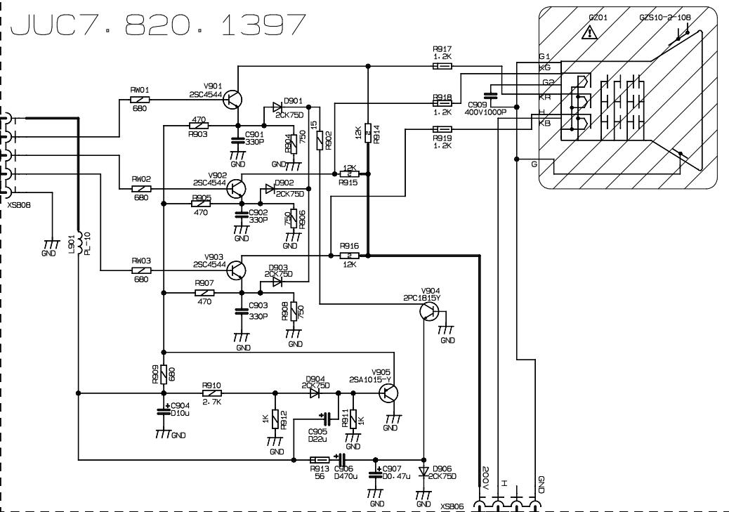 求长虹电视pf21300【f52]视放电路图