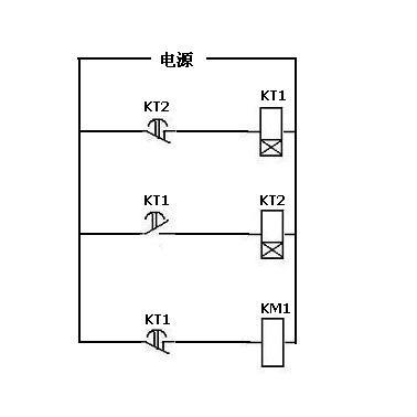 想用时间继电器和接触器控制电机间隔起动,求电路图.