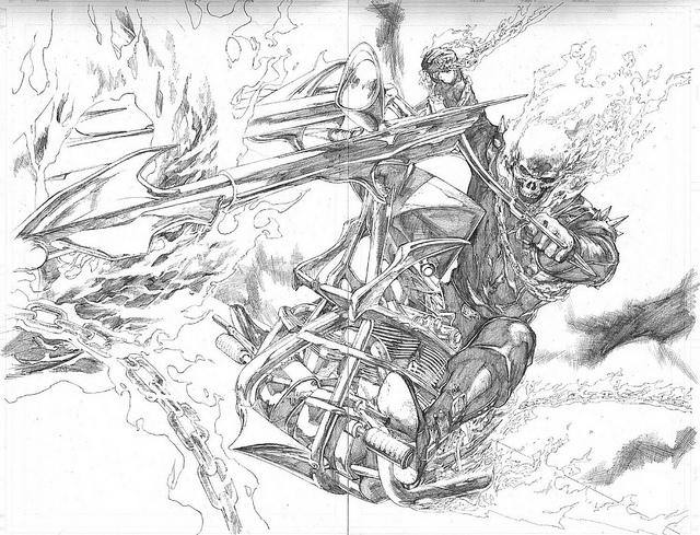 求灵魂战车 骷髅的手绘图