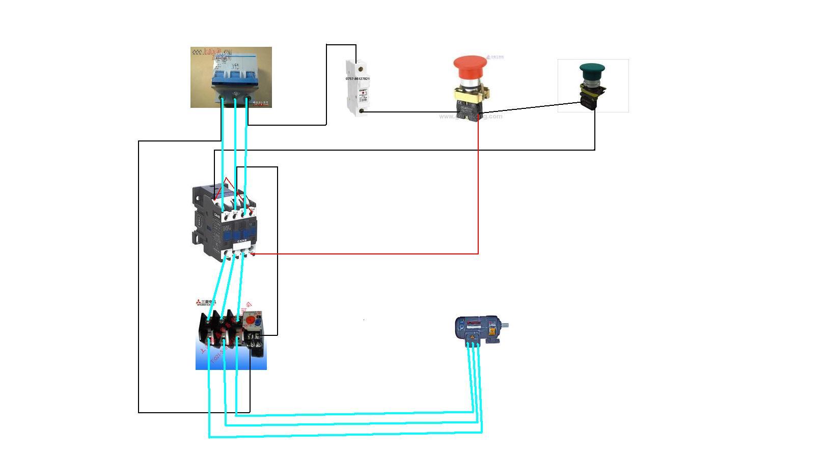 求用一个接触器一个按钮开关和一个电动机接线