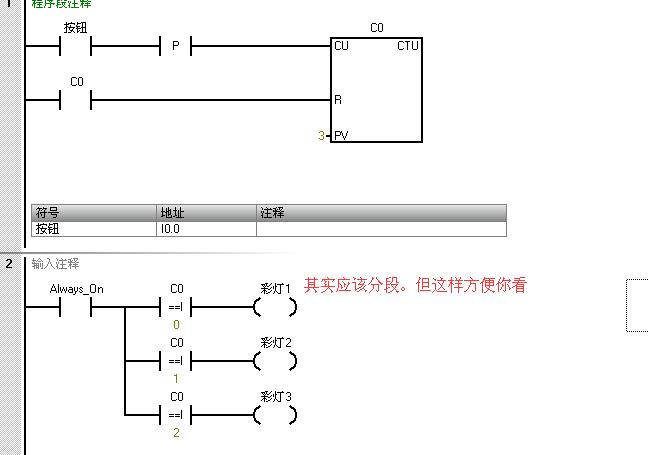 彩灯电路的plc控制,求解答要求,一个开关三盏灯.