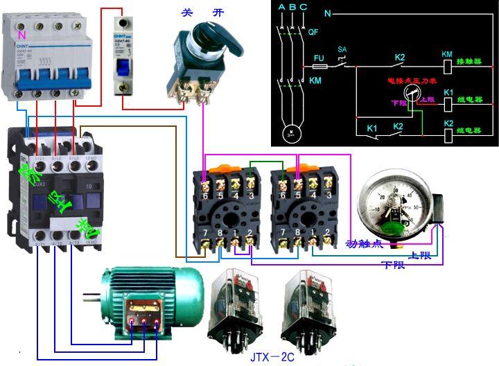 电接点压力表接线图,一个交流接触器(380v),两个中间继电器(220v)
