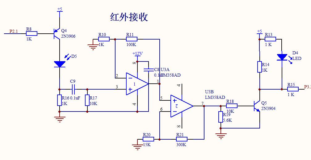 lm358组成的红外接收电路的工作原理