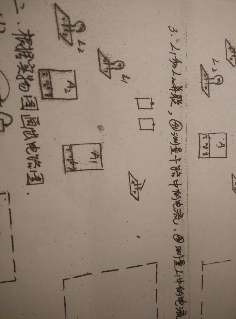 初三物理实物图,电路图