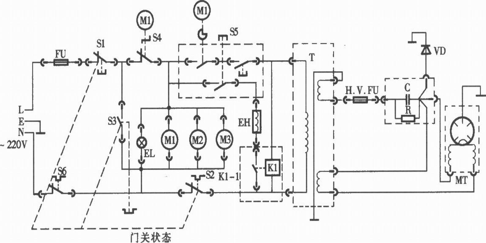 给你看个微波炉的基本电路图