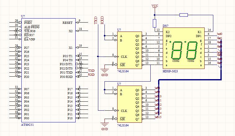 求 两位七段数码管 接 74ls164 用51单片机驱动的电路