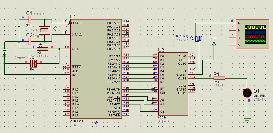 8253定时芯片与51单片机的连接