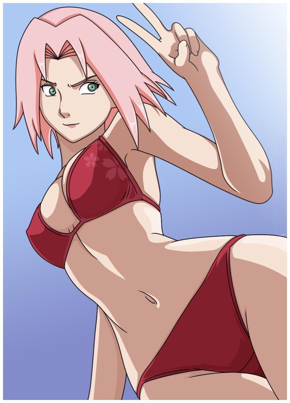 求几张火影忍者中小樱单人的性感泳装图片!要动漫的!