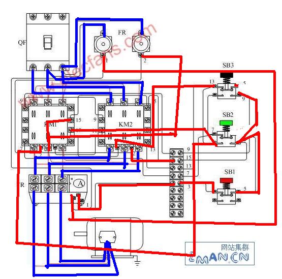 两个接触器 既能点动又能连续运行 有原理图 求接线图