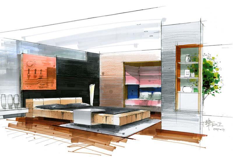 求室内客厅手绘效果图?