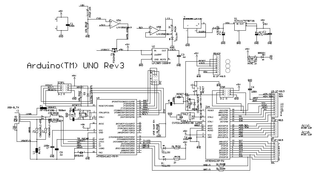 有谁能把arduino uno r3的电路原理图各部分讲解一下