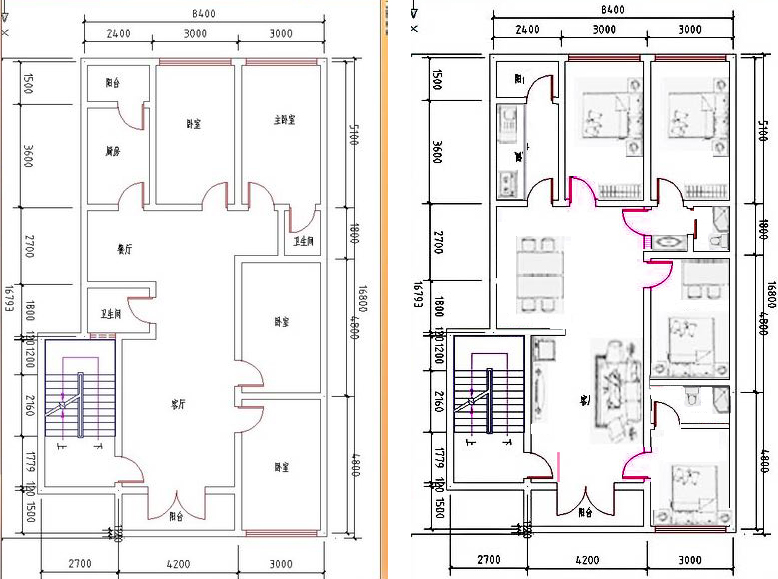 高手帮忙设计一下房子布局 正面宽8.5米 长15.图片