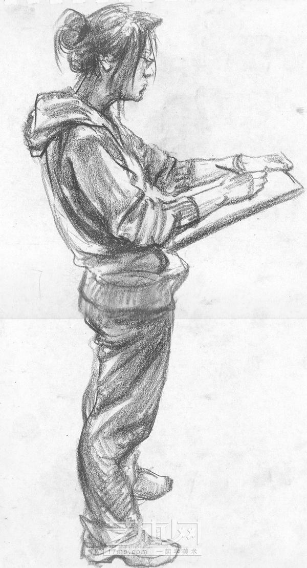 站着画画的人物正侧背面的速写临摹