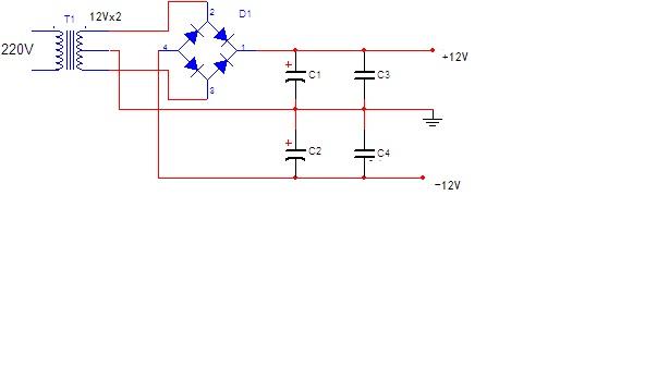 求教 二极管整流桥 双12v交流转双12v直流