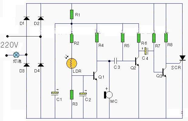 声控楼道路灯电路图原理