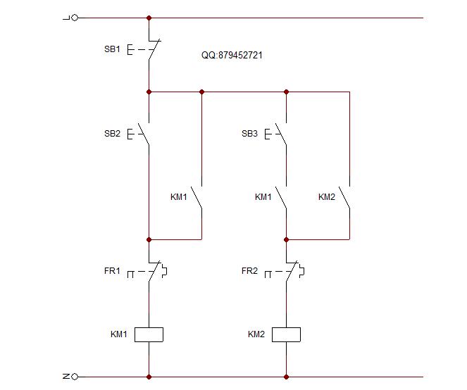 两台电动机顺序启动 同时停止 的电路图