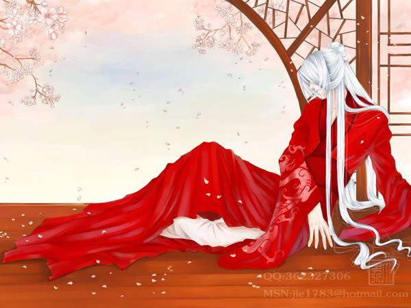 古装美女手绘图宫廷红衣