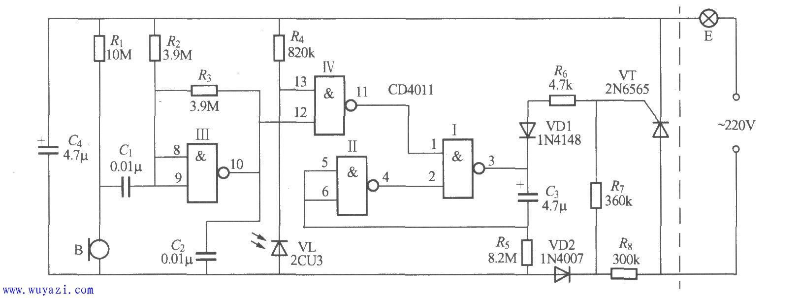 设计楼道声光控灯的电路图