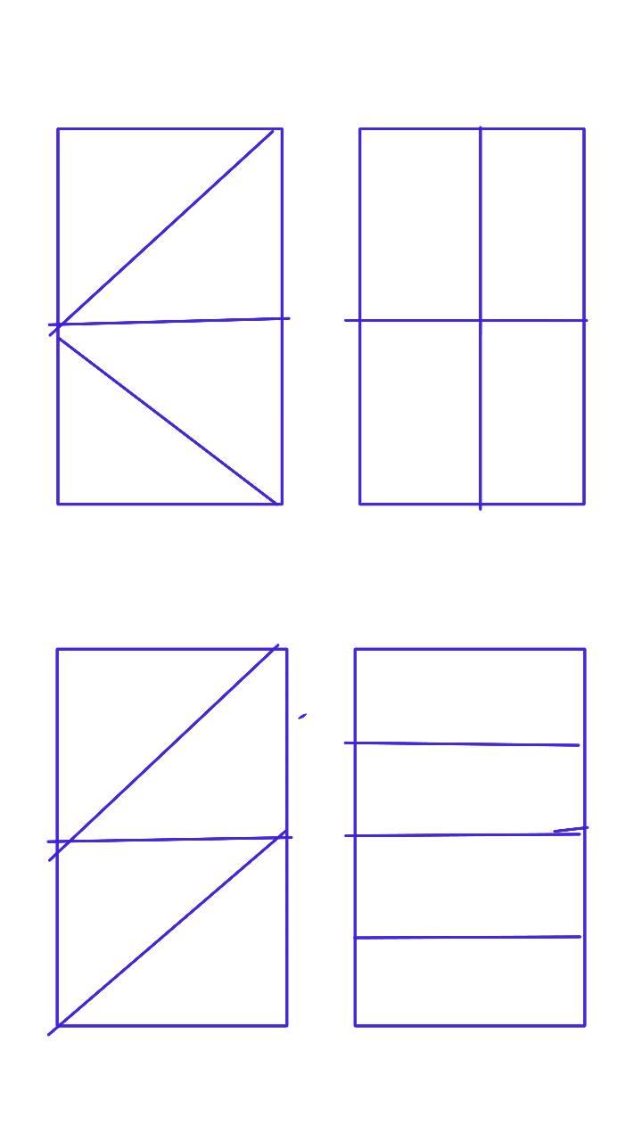 一个长方形,用两条直线怎么分成四个相同图形,共四种分法?图片