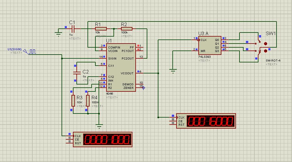 用proteus仿真的,基于cd4046的解调电路图和倍频电路图