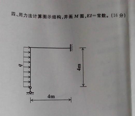 用力法计算图示结构,并画m图,ei=常数