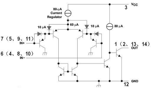 器lm393的内部电路图是什么样的,不是引脚图,什么情况下加上拉电阻?