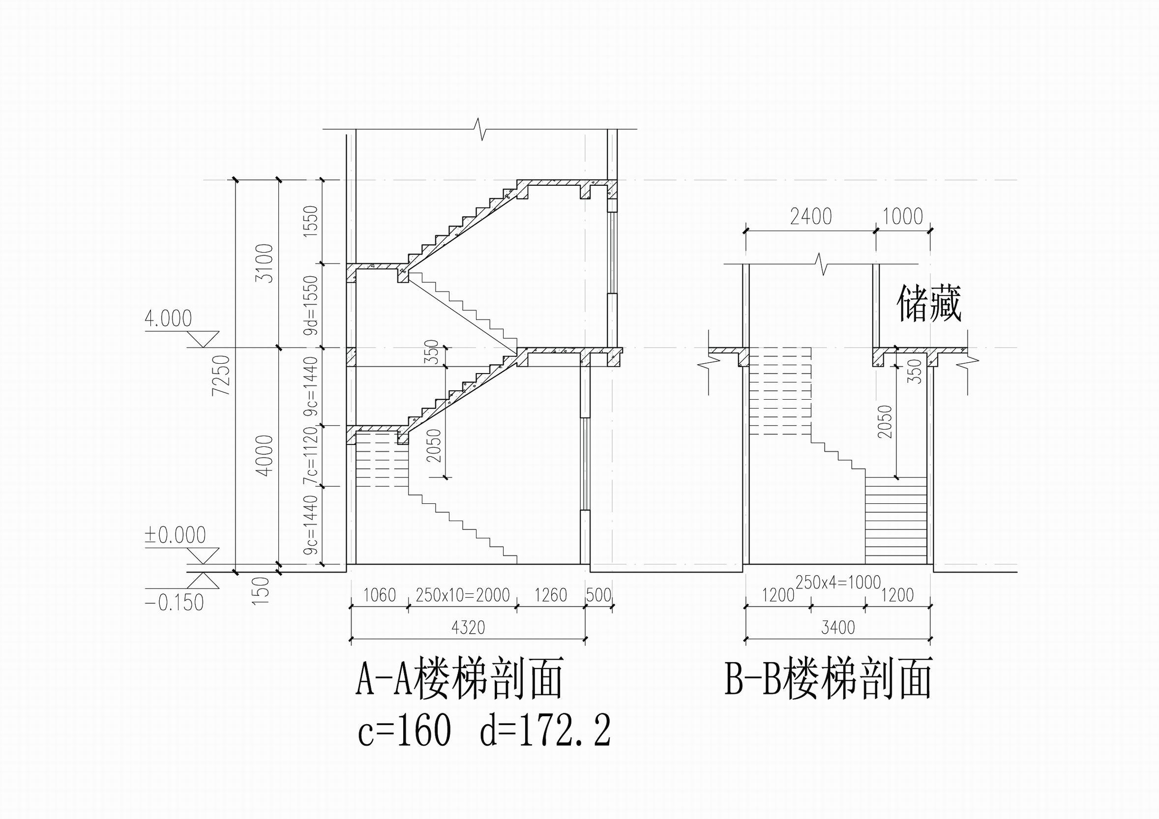 自建房,如图,4米那个u型3跑楼梯,需要做楼梯梁吗?如果要做改怎么做?