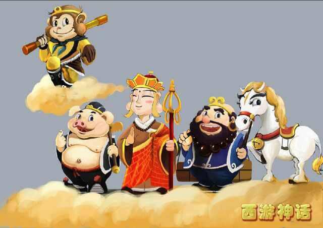 西游记四人动漫图片,有点q,孙悟空双手搭在金箍棒上,棒子架在后颈上