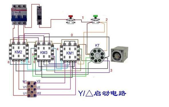 三个60a交流接触器,不装时间继电器,想做个手动星三角启动,求接线图