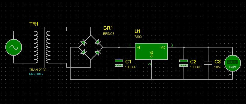 用220v转12v的变压器如何得到9v的直流电压,(我有个l7809)求电路图,急