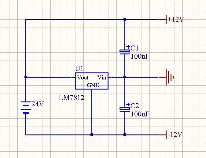 设计一个由24v直流电压源产生正负12v的简单电路.