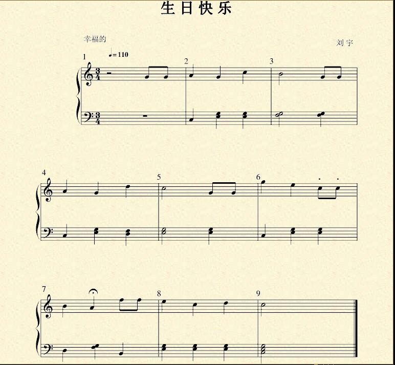 生日快乐钢琴曲谱