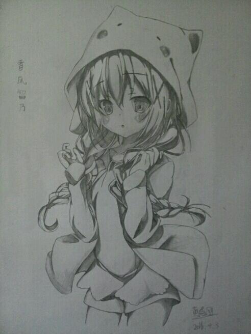 素描可爱女生戴帽子图片