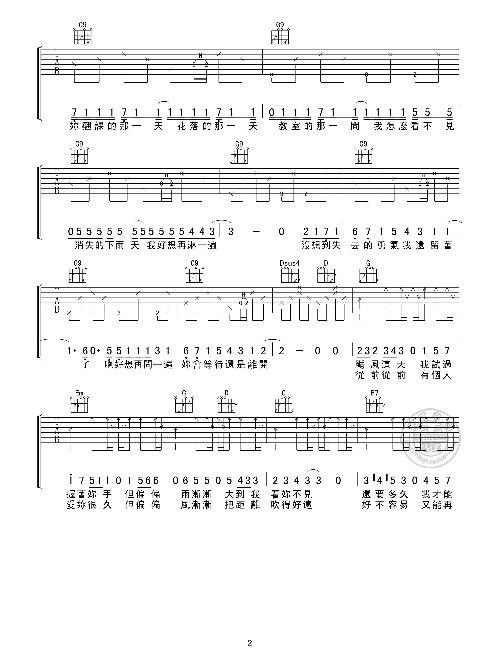 晴天指弹吉他谱简单版