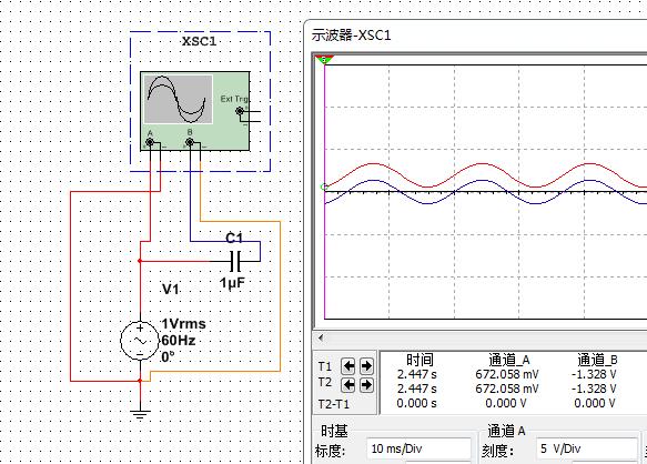 为什么交流信号通过电容之后,电容的负极的电压波形没有相位差,电路如